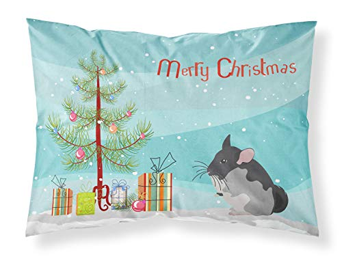Black Velvet Chinchilla Merry Christmas Fabric Standard Pillowcase, Standard, Multicolor - Caroline's Treasures CK4432PILLOWCASE