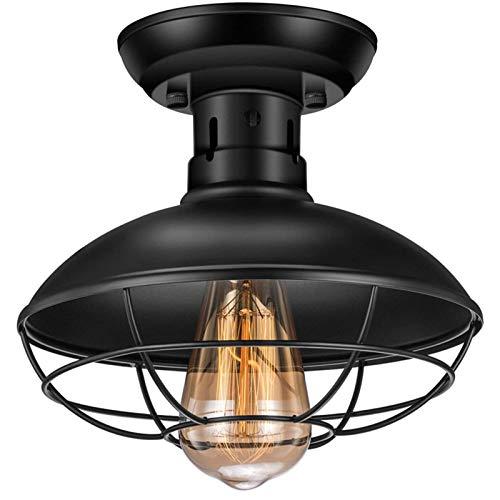 Luz De Techo Industrial Retro Mini Ceiling Light De Jaula De Metal E27 Accesorios De Techo Negros Antiguos Luz En Forma De Cúpula Semi Empotrada para Entrada De Porche De Garaje De Cocina