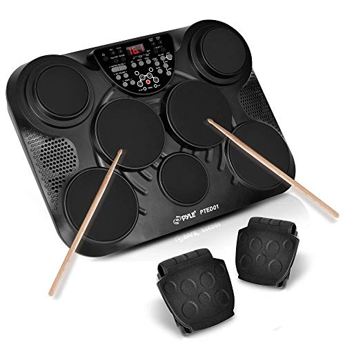 Pyle Portable Drums, Tabletop Drum Set, 7 Pad Digital Drum Kit, Touch Sensitivity, Wireless Electric...