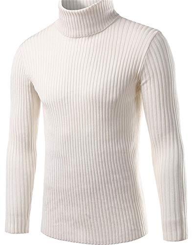 GWEI】Maglioni Collo Alto Maglione Dolcevita Uomo Manica Lunga Maglia Casuale Pullover Maglieria (3XL, Bianco)