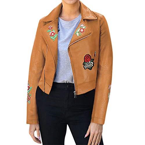 Faux Lederjacke Damen Tailliert Bestickte Motorradjacke FüR Damen üBergangsjacke Damen ReißVerschluss Mantel Herbstjacke Damen Coole Sonoijie(Braun,S)