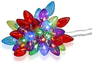 X-nego LEDs Christmas Lights 30LEDs String Light C7 Bulbs Battery Powered 4 Multi-Color LED Light Wedding,Xmas Party(9.3ft / 2.8m)