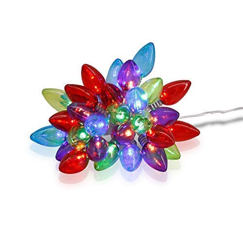 X-nego LED Christmas Lights 30LEDs String Light C7 Bulbs Battery Powered 4 Multi-Color LED Twinkle Lights Wedding,Xmas Tree and Party(15ft / 4.5m)