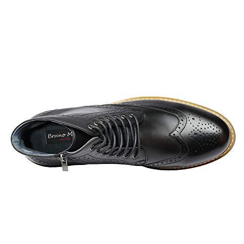 Bruno Marc Men's Dress Ankle Motorcycle Boots Wingtip Leather Lined Derby Oxfords Bergen-01 Black Size 10 M US