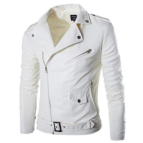 Celucke, giacca da uomo da motociclista, con colletto reversibile, in ecopelle, colore bianco, giacca invernale da uomo, alla moda, slim fit bianco XX-Large