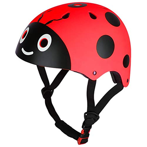 Pandao Fahrradhelm, Kinder Reiten Schutzhelm Niedlicher Marienkäfer Kinder Skaten Radfahren Fahrradschutz Helm Kinder Balance Fahrradhelm für Jungen Mädchen