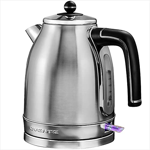 Ovente Electric Stainless Steel Hot Water Kettle 1.7 Liter Victoria Collection, 1500 Watt Power Tea Maker Boiler with Auto Shut-Off Boil Dry Protection Removable Filter and Water Gauge, Silver KS777S