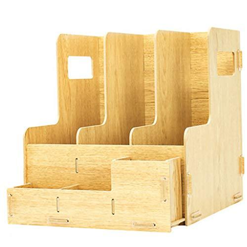 Ablagesystem Den, Schreibtisch Holz Datei Rack Multifunktions Organisator Und Lagerung Bürobedarf Einfaches Desktop File Sorter Vertical File Rack,1