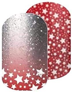 Born to Sparkle - Jamberry Nail Wraps - Half Sheet - Silver & Red Ombre Sparkle Stars