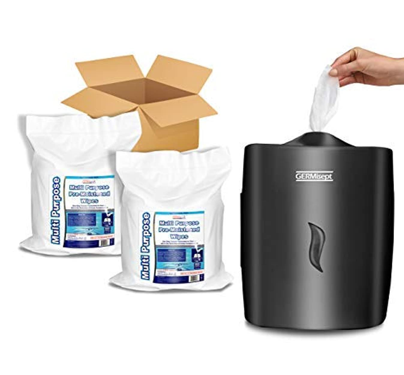 GERMISEPT Wall Mount Dispenser + 2 800 CT Rolls Combo - Multipurpose Gym Wipes & Wellness Center Cleaning Wipes/Cart Wipes (Dispenser + 2 Rolls)
