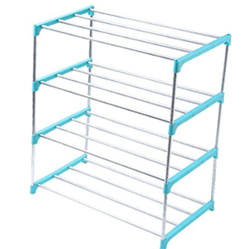 Heqianqian Zapatero apilable de 3/4 niveles, para ahorrar espacio, organizador de almacenamiento de zapatos para pasillo (tamaño: como se muestra; color: azul 4 niveles)