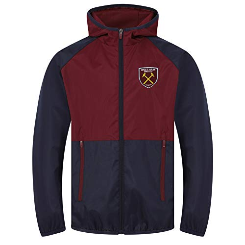 West Ham United FC - Chaqueta Cortavientos Oficial - para Hombre - Impermeable - Azul Marino/Granate - L