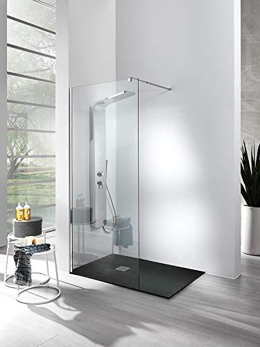 Plato de ducha de Mineralmármol + Mampara ducha Walk-in de cristal templado...