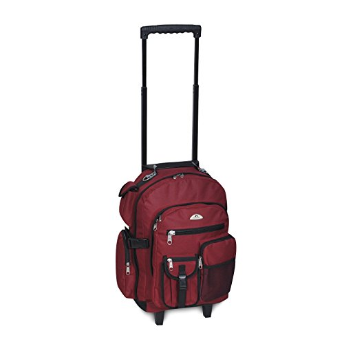 Everest Deluxe Wheeled Backpack, Burgundy, One Size,5045WH-BURG