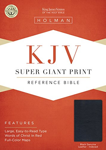 KJV Super Giant Print Reference Bible, Black Genuine Leather Indexed