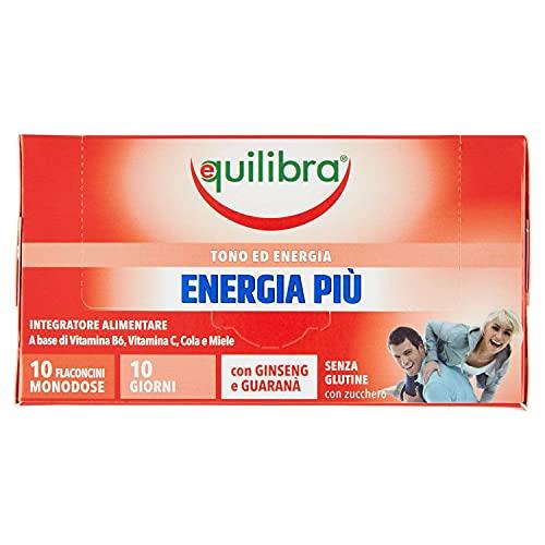 Equilibra Integratori Alimentari, Energia Più, Integratore per Riduzione Stanchezza e Affaticamento, con Vitamina B6, Vitamina C, Cola e Miele con Ginseng e Guaranà, 10 Flaconcini Monodose