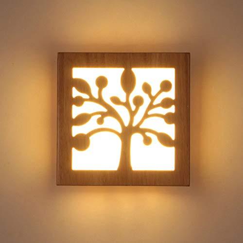 Style Japonais Logs en bois massif Led lampe de chevet Nordic Minimaliste Salon Balcon Aisle acrylique Applique murale lumière décorative (Couleur: branche d'arbre) midiao (Color : Tree Branch)