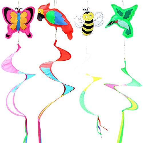 Babioms 4Pcs Rainbow Espiral Molinos de Viento, Giratorio de Viento, Jardín, casa, Fiesta, Tienda de Campaña, Decoración al Aire Libre, Viento En Espiral Molinos