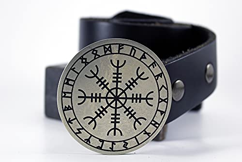 Viking Helm of Awe NORSE CELTIC Belt Buckle Etched Metal