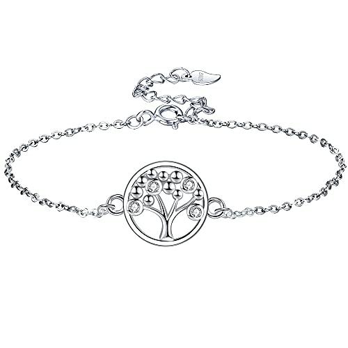 Lydreewam árbol de la Vida Pulsera para Mujer Plata de Ley 925 3A Circonita Cúbica con...