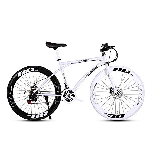 LRHD Men's and Women's Road Bicycles, 24-Speed 26-inch Bicycles, Adult-only, High Carbon Steel Frame, Road Bicycle Racing, Wheeled Road Bicycle Double Disc Brake Bicycles (Black and White)