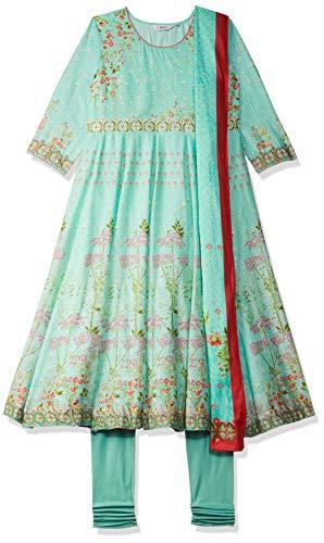 BIBA Women's Cotton Anarkali Salwar Suit Set (SKD636336_Turquoise_L (36))