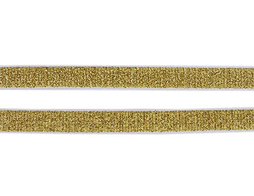 YYCRAFT 10 Yards Glitter Bra Strap Elastic Bands for Sewing, 5/8 inch Wide Elastic Cord for Hair Ties Headbands Craft(5/8',Gold)