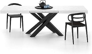 Mobili Fiver, Table extensible Emma, béton blanc avec pieds croisés noirs, meubles / fer, fabriqué en Italie, disponible e...