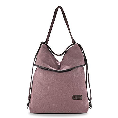 JOSEKO Canvas Tasche Segeltuch Vintage Rucksäcke Damen Schultertasche Handtasche Multifunktionsbeutel für Reise Outdoor Schule Einkauf Alltag Büro (Kaffee)