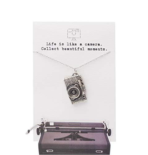 Quinnlyn & Co. Life is Like Camera Necklace with 16gb SD Card Secret Storage, Point & Shoot Inspired Charm, DSLR Classic Camera Style Pendant, Gifts for Photographers & Avid Photography Lovers - 100% Handcrafted & Gift Giving Ready