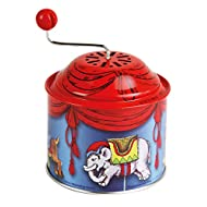 Bolz 52764 Turning Carousel Music Approx. 10.5 x 7.5 cm, Box with Melody The Spring, tin Made of Metal, Rotating Horn for Children Aged 18 Months and Over, Organ with Animal Motif, Colourful