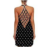 Sexy Net Backless Tank Tops Dress for Women Sunflower Print Ladies Sleeveless Cross Criss Vest Tee Shirt Camisole Blouse