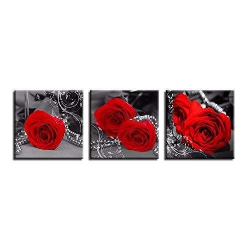LTTGG 3 piezas lienzo moderno pintura arte de la pared decoración ros