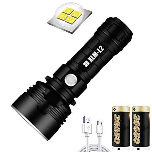 Linterna LED impermeable de alta potencia de 30000-100000 lúmenes, Ultra brillante de 3 modos Linterna LED XLM-P70, Linterna recargable USB (50W XLM-P70, Batería de litio doble)