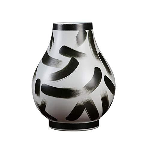 Vase Jarrón Gran jarrón de cerámica, pintado a mano Decoración de escritorio, ideal for secas Arreglos de flores regalos for el hogar bodas, manualidades, 12.2 (31 cm) de alto Jarrón de Escritorio dec