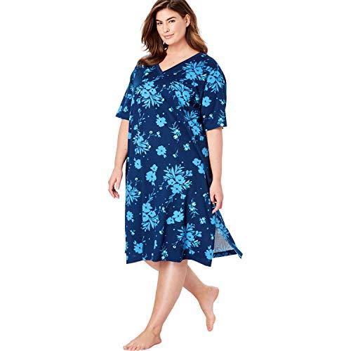 Dreams & Co. Women's Plus Size Long Print Sleepshirt - 3X/4X, Evening Blue Flower Nightgown