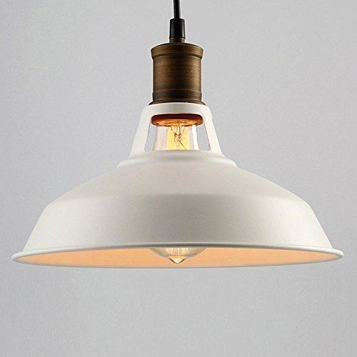 Illuminazione a soffitto industriale, SUN RUN Creative Lampadari a incandescenza Creative Lampada a sospensione in metallo vintage con finitura verniciata per la cucina della sala da pranzo, White