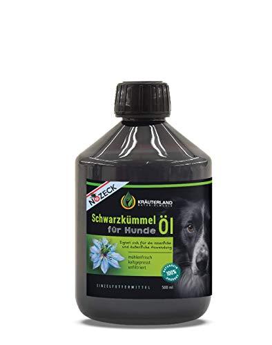 Kräuterland - Schwarzkümmelöl für Hunde 500ml - 100% rein, ungefiltert, kaltgepresst - mühlenfrisch direkt vom Hersteller - Fütterung & Fellpflege