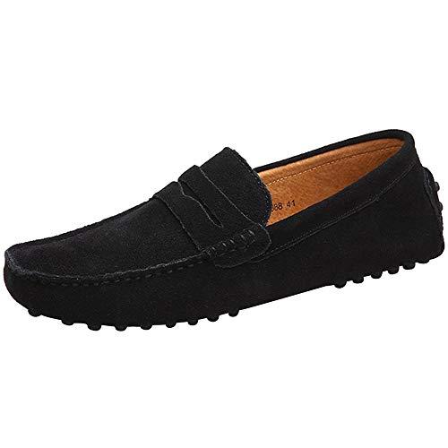 Yaer Herren Driving Loafers Flat, Premium Slip-on Wildleder Mokassin Bootsschuhe(Schwarz,42 CN)