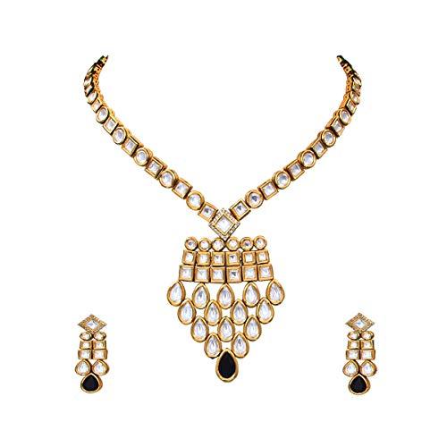 JewelryOnClick chapado en oro-cobre Black Kundan-Black-Onyx