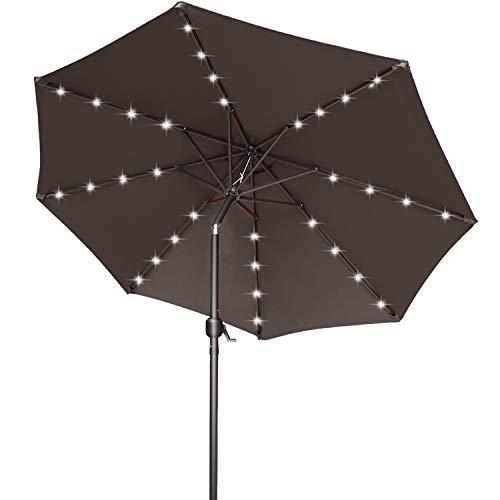Paraguas solar Ourdoor de 9 pies con 32 luces LED, inclinable y manivela para jardín, cubierta, patio trasero y piscina, 12 colores, (marrón)
