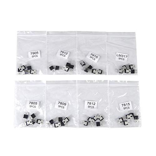 40 stücke Transistor Sortiment Kit, Signal Breitbandverstärkung Transistor, 8 Arten JFET 7805 7809 7812 7815 7905 7912 7915 LM317 Transistor