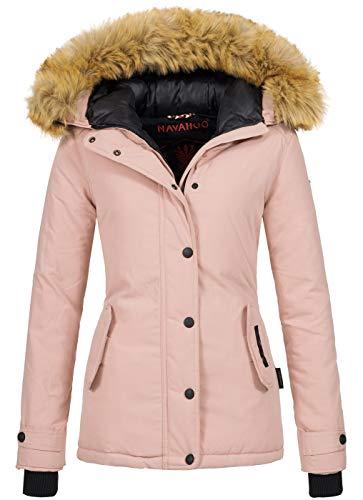 Navahoo warme Damen Winter Jacke Winterjacke Parka Mantel Kunstfell B392 [B392-Laura2-Rosa-Gr.XL]