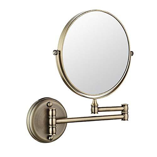 JHNEA Orientable Fixation Murale Miroir Grossissant, 360°Pivotant Double Face Pliant Miroir Cosmétique Extensible Miroir Grossissant Rond,Green Bronze_3X Magnification