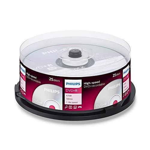 Philips DVD+R Rohlinge (4.7 GB Data/ 120 Minuten Video, 16x High Speed Aufnahme, 25er Spindel)
