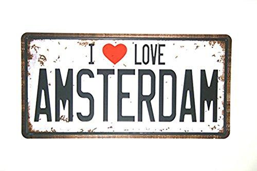 Eureya I Love Amsterdam de voiture de plaque d'immatriculation Tag Home/CAFE Bar/Pub/restaurant/salon Décoration murale vintage plaque 15,2x 30,5cm