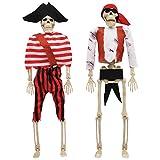 JOYIN 2Pcs 40,6cm Decoraciones de Halloween Aterradoras Esqueletos de Pirata de Halloween de Cuerpo Entero Posable
