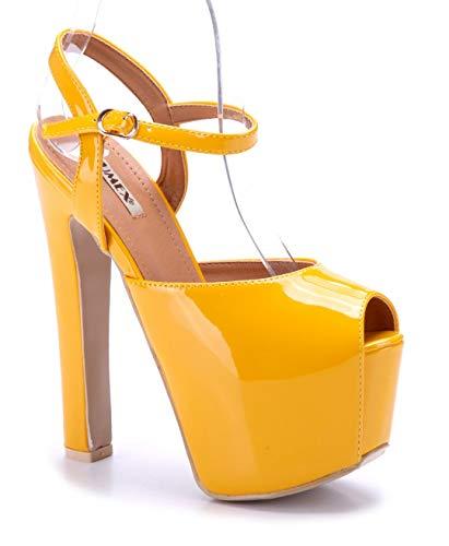 Schuhtempel24 Damen Schuhe Plateausandaletten Sandalen Sandaletten gelb Blockabsatz 17 cm High Heels