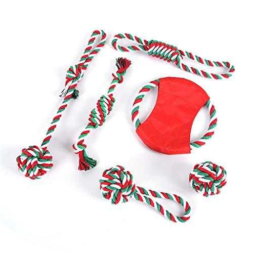 Hothap hondenspeelgoed, Kerstmis, 6 stuks, wasbaar, kauwspeelgoed van katoen