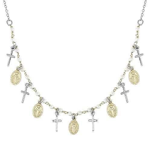 Linea Italia Gioielli - Collana Donna con Croci e Medaglietta Madonna in Argento 925 e Perle Bianche - Made In Italy